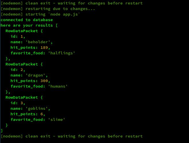 database results, node.js